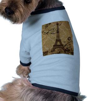 girly floral paris eiffel tower vintage doggie shirt
