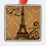 girly floral paris eiffel tower vintage square metal christmas ornament