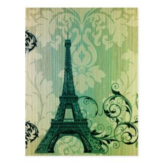 girly floral paris eiffel tower vintage postcard