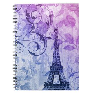 girly floral paris eiffel tower vintage spiral notebooks