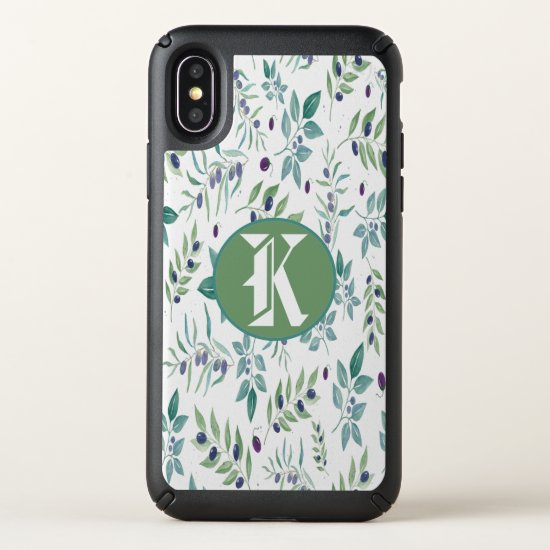 Girly Floral Pattern Monogram iPhone X Case