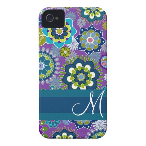 Girly Floral Pattern with monogram iPhone 4 Cover
