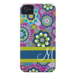 Girly Floral Pattern with Monogram iPhone 4 Case-Mate Case