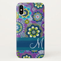 Girly Floral Pattern with monogram iPhone X Case