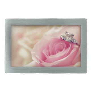 Girly floral roses pink white dreamy angelic soft rectangular belt buckles