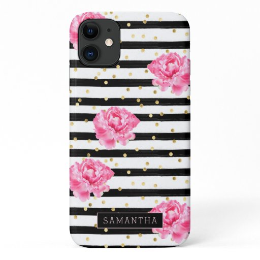 Girly Floral Stripe Glitter Monogram iPhone 11 Case