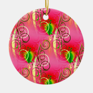 Girly Floral Swirl Hot Pink Green Gifts for Her Ceramic Ornament