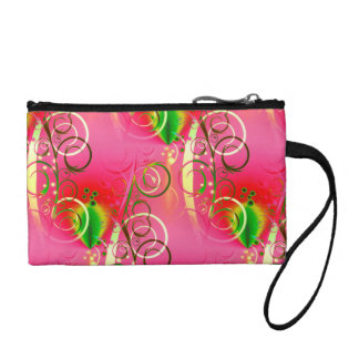 Girly Floral Swirl Hot Pink Green Gifts for Her Change Purse