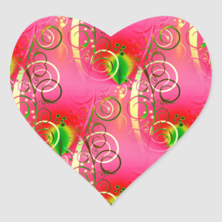 Girly Floral Swirl Hot Pink Green Gifts for Her Heart Sticker