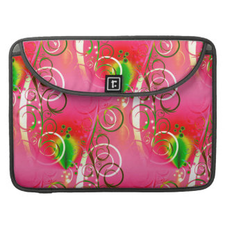 Girly Floral Swirl Hot Pink Green Gifts for Her Sleeves For MacBooks