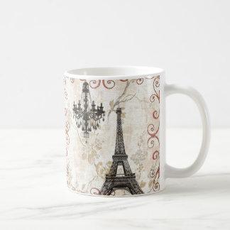 Girly floral swirls Eiffel Tower vintage Paris Classic White Coffee Mug