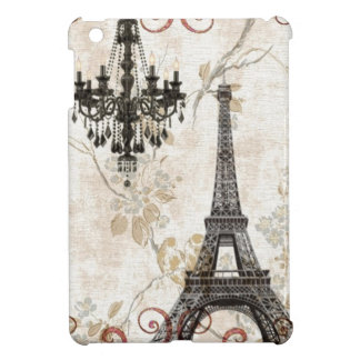 Girly floral swirls Eiffel Tower vintage Paris Case For iPad Mini