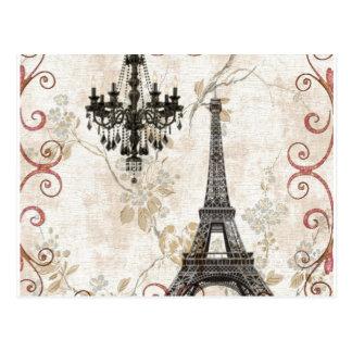 Girly floral swirls Eiffel Tower vintage Paris Postcard
