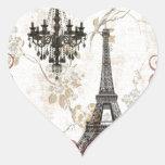 Girly floral swirls Eiffel Tower vintage Paris Heart Sticker