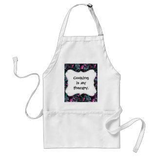 Girly Floral Swirls Pink Teal Purple on Black Aprons