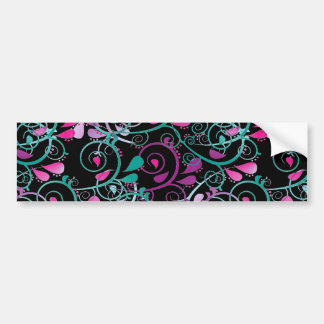 Girly Floral Swirls Pink Teal Purple on Black Car Bumper Sticker