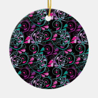 Girly Floral Swirls Pink Teal Purple on Black Ceramic Ornament