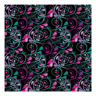 Girly Floral Swirls Pink Teal Purple on Black Poster