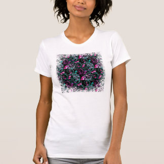 Girly Floral Swirls Pink Teal Purple on Black T-Shirt