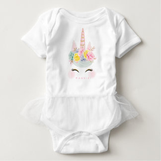 Girly Floral Unicorn Pink Gold Personalized Baby Bodysuit