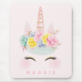 Girly Floral Unicorn Pink Gold Personalized Mouse Pad