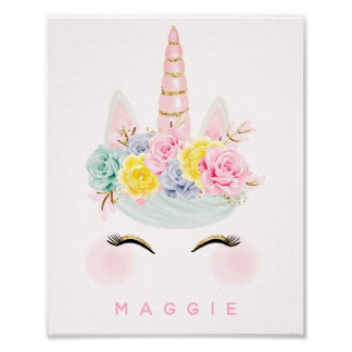 Girly Floral Unicorn Pink Gold Personalized Poster