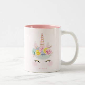 Girly Floral Unicorn Pink Gold Personalized Two-Tone Coffee Mug