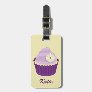 Girly Floral Vanilla Cupcake Swirl Purple Frosting Luggage Tag