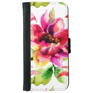 Girly Floral Vintage Pink iPhone 6 Wallet Case