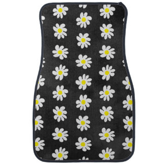Girly floral white daisy pattern black watercolor car mat