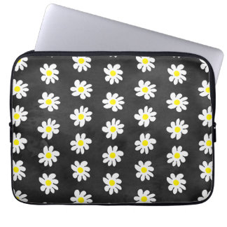 Girly floral white daisy pattern black watercolor laptop computer sleeve
