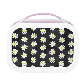 Girly floral white daisy pattern black watercolor yubo lunchbox
