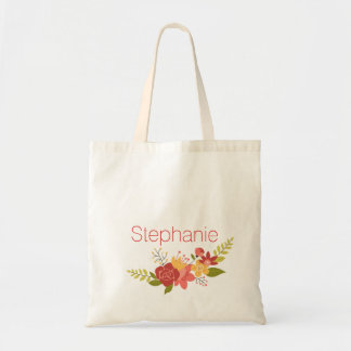 Girly Floral Wreath with Name Tote Bag