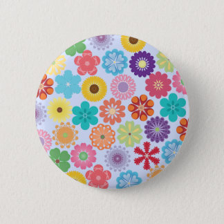 Girly Flower Power Colorful Floral Pattern Button