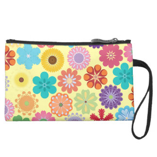 Girly Flower Power Colorful Floral Pattern Gifts Wristlet