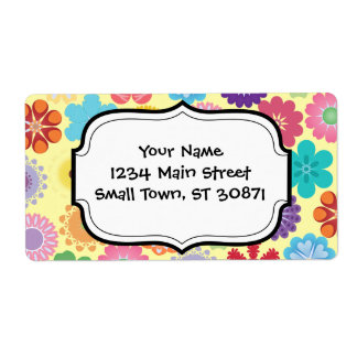 Girly Flower Power Colorful Floral Pattern Gifts Label