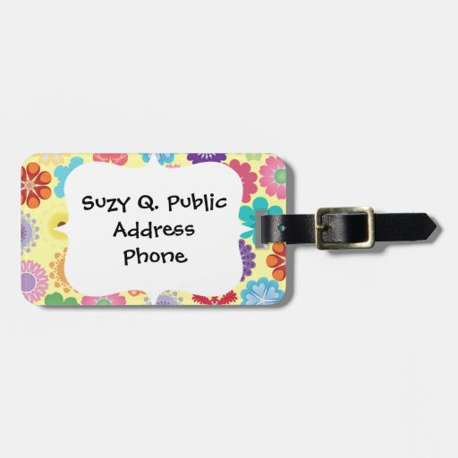 Girly Flower Power Colorful Floral Pattern Gifts Tags For Bags