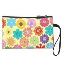 Girly Flower Power Colorful Floral Pattern Gifts Suede Wristlet Wallet