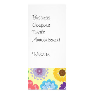 Girly Flower Power Colorful Floral Pattern Rack Card