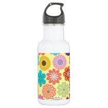 Girly Flower Power Colorful Floral Pattern Water Bottle