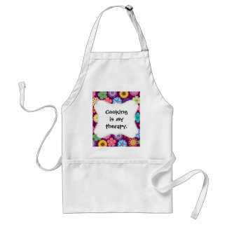 Girly Flower Power Colorful Floral Purple Pattern Adult Apron