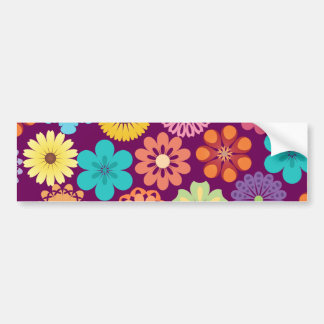 Girly Flower Power Colorful Floral Purple Pattern Bumper Sticker