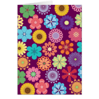 Girly Flower Power Colorful Floral Purple Pattern Card