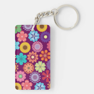 Girly Flower Power Colorful Floral Purple Pattern Keychain