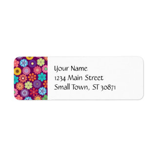 Girly Flower Power Colorful Floral Purple Pattern Label
