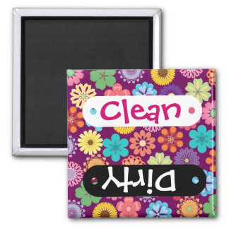 Girly Flower Power Colorful Floral Purple Pattern Magnet