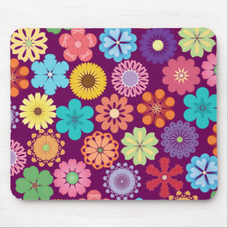 Girly Flower Power Colorful Floral Purple Pattern Mouse Pad