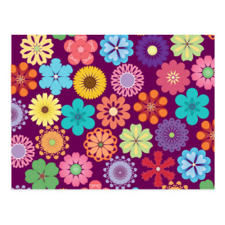 Girly Flower Power Colorful Floral Purple Pattern Postcard