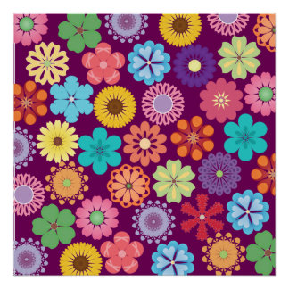 Girly Flower Power Colorful Floral Purple Pattern Poster