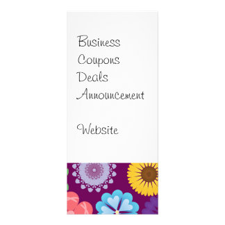 Girly Flower Power Colorful Floral Purple Pattern Rack Card